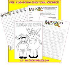 Free Cinco de Mayo Worksheets1 FREE: Printable Cinco de Mayo Activities for Kids #CokeFiesta