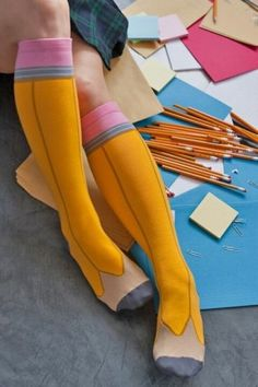 Pencil Knee High Socks Perfect for the first day of school lol