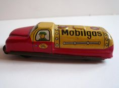 Vintage Tin Lithograph Toy Car  Gas Truck by vintagereinvented,