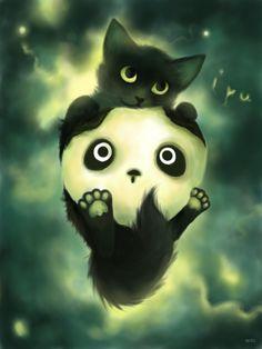 Hugs and Kisses by aptic #kitty #panda #aptic