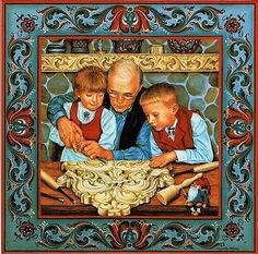 "Trivet Tile: Acanthus Carver 6"" X 6"" Cork Backing Suzanne Toftey art,"