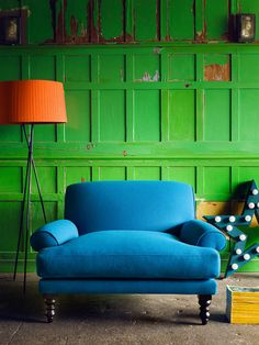 Love the colors Green painted wood panelling