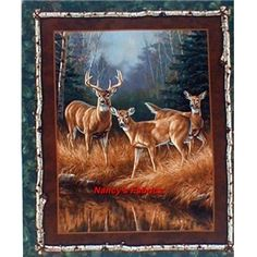 Here is just a deluxe cotton quilting fabric panel by artist Rosemary Millette for Springs Creative Products Group.  This fabric panel comes from their Unknown Intruder fabric line.  In the foreground of the fabric panel stands an alert buck deer watching over his family.  Be sure to check out the great set of 4 pillow panels Nancy's has available from the Unknown Intruder fabric line.