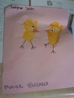 Infant art footprint chicks for spring time!