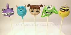 "Mike Wasowski Cake Pops for Monsters Inc - Cake pops by ""Let Them Eat Cake Pops"" tutorial on PintSizedBaker.com #cakepops #MonstersInc"