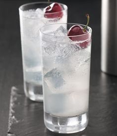 Cherry Collins.. cherry vodka, lemon juice, and club soda