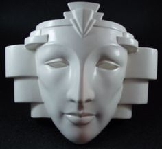 "Vintage ceramic wall sconce lamp light. Anthropomorphic face mask with fabulous ""Art Deco"" revival inspired styling. Made by Pelzman designs by Vandor ceramics in Japan about 1980s."