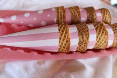 Pink Ice Cream Cone Wrappers:  Make with scrapbook paper.