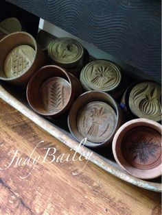 My collection of butter molds in old early blue trencher