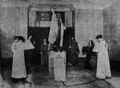 Aleister Crowley performing the Rites of Eleusis.