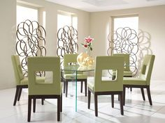 Rent the Glass on Glass Dining Table with Sage Chairs