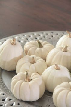 white pumpkins fall decorating