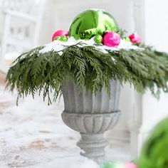 outdoor decorations, holiday, pinefil urn, color schemes, christma decor