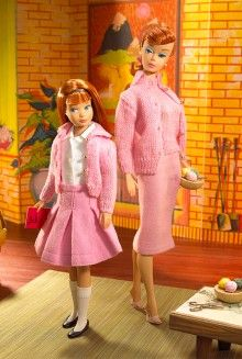 Vintage Barbie and her little sister, Skipper. I had this outfit for my Skipper doll.
