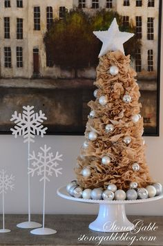 StoneGable: COFFEE FILTER TREE AND WREATH DIY christma coffe, christma decor, christma tree, christma craftdecor, christmas trees, coffee filters, wreath diy, filter tree, coffe filter