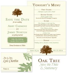 Oak Tree Save the Date, Menu and Place Card
