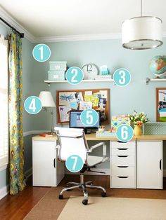 Get This Look - 7 Tips for Easy Home Office Organization via Remodelaholic.com