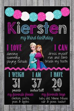 Frozen Birthday Chalkboard Poster // Birthday by MsThirdGrade, $15.00