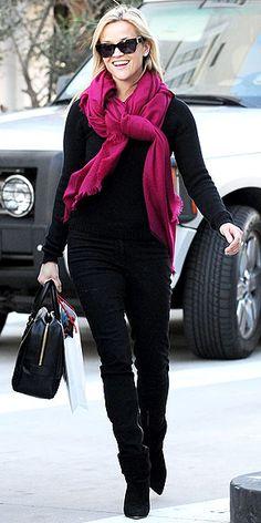 fushcia scarf on all black