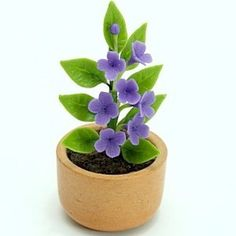 Miniature Polymer Clay Flowers Supplies for Dollhouse Purple Lilac