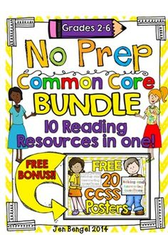 Common Core NO PREP Reading BUNDLE: Covers all Grades 2-6. 10 resources for the price of 8.  Plus a FREE 20 page Common Core BONUS.  536 pages in all!! ($)