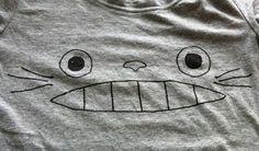 totoro crafts, diy shirt, shirts, fabric craft, diy cloth, totoro diy, diy totoro, kid, totoro tshirt