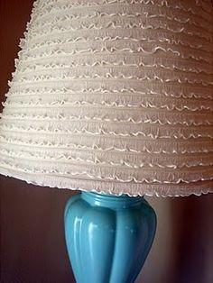 dining rooms, lamp shade, crafti, diy tutorial, diy ruffl, craft idea, glue gun, ruffl lampshad, ruffles