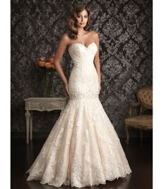 2013 Allure Bridal - Ivory  Silver Lace Applique  Organza Mermaid Wedding Dress - Unique Vintage - Prom dresses, retro dresses, retro swimsuits.