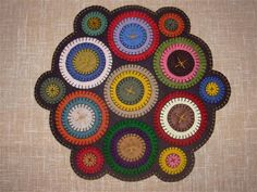 penny rug, table topper, trivet, or wall hanging