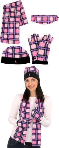 Pink Ribbon Plaid Fleece Accessories at The Breast Cancer Site
