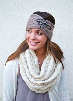 TAUPE Chunky Knitted Headband Ear Warmer Head band by AnytimeScarf