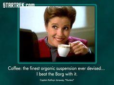 Captain Kathryn Janeway on Coffee. Picture taken from the Star Trek Facebook Fan Page.