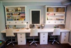 homework station, desk space, kids homework, homework space, offic, playroom, study areas, school room, craft rooms