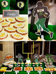 oval shaped crackers with salami and cheese, use mustard for the football laces, cute