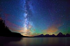 Milky Way and sunset beyond the Tetons.  (Must enlarge view to see why this is so phenomenal.)