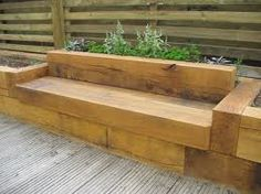 raised flower beds - Google Search rais flower, sleeper flower beds, raised bed gardens, sleeper bench, oak bench, garden sleeper raised bed, raised flower bed patio, raised beds with seat, raised flower beds