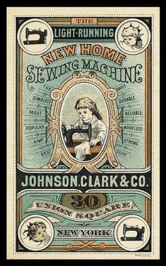 sewing machines, home sewing, vintage ephemera, trade card, vintage sewing