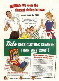 Love how chipper this vintage family is about their sparkling clean laundry, and am also especially fond of mother's darling heart bedecked apron. #vintage #laundry #ad #1950s #family #retro #homemaker #housewife #cleaning