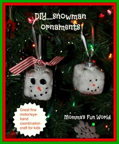 Momma's Fun World: Fun snowman ornament using cottonballs
