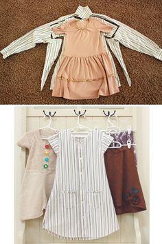 Turn a Button-Up Shirt into a Little Gal's Dress