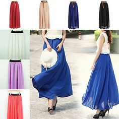 New Fashion Womens Chiffon Pleated Retro Long Elastic Waist Band Long Maxi Skirt
