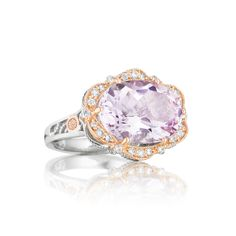 Tacori style no. SR109P13. Oval shaped Rose Amethyst is at the center of the femininely floral and absolutely sophisticated ring from Tacori 18k925. Pink gold details add a fashion-forward style and sculptural .925 silver create a modern yet classic look.