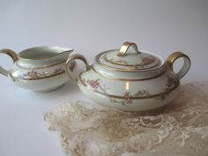 Vintage Haviland Limoges Pink Green Floral Cream & by thechinagirl, etsy