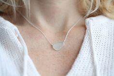 Sea Glass & Sterling Silver Necklace - Light Aqua. $34.00, via Etsy.