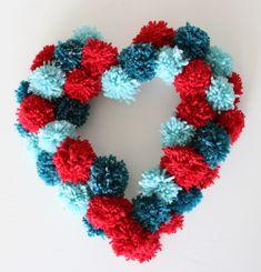 holiday, decor crafts, valentin wreath, valentine day crafts, pom poms, pompom, wreaths, valentine wreath, heart wreath