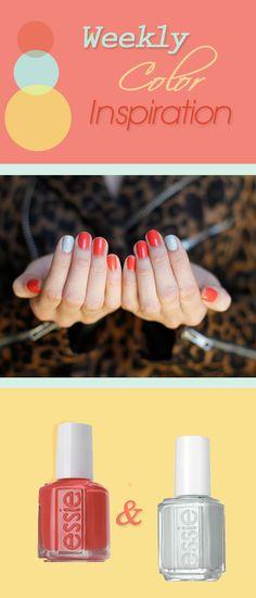 #Nails / Coral & Mint Nails