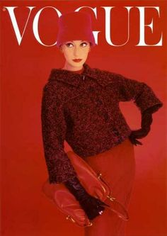 Vogue cover, August 1956. red hat