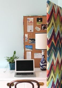 Room divider - can also use this idea for a colorful bulletin board in your office
