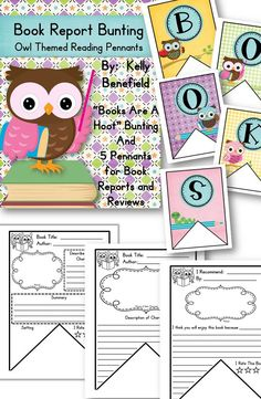 """Buntings are so cute!  Use this packet to decorate your classroom with cute bunting that spells, """"Books Are A Hoot.""""  It will also encourage your students to read and share about their reading.  Perfect for a bright springtime display! $"""