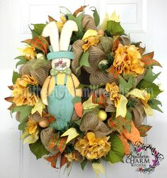 Deco Mesh Burlap BuNnY WrEaTh with Carrots Moss Green Orange Eggs Door Wreath by www.southerncharmwreaths.com $129 #burlap #decomesh #easter
